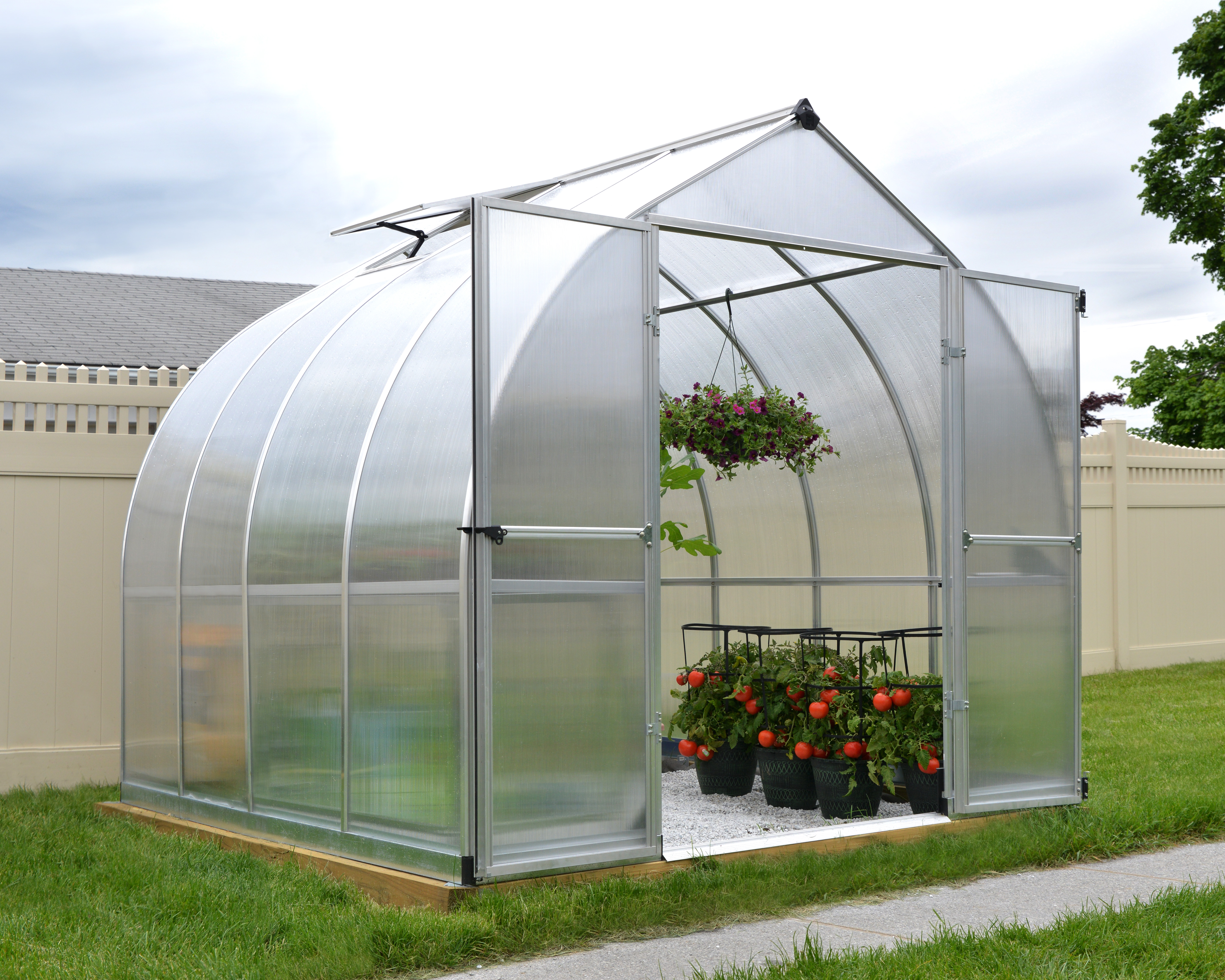 bella 8 x 8 hobby greenhouse silver 763552428103 greenhouses etc